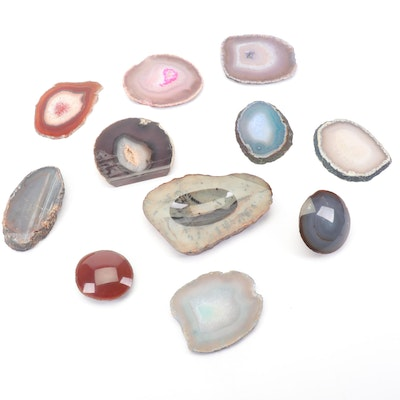 Collection of Geode Slices with Stone Trinket Dish