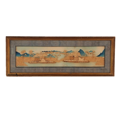 Early 20th Century Chinese Carved Cork Architectural Relief Sculpture