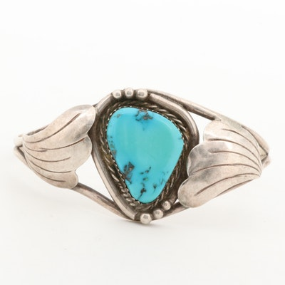 Southwestern Style Stering Silver Turquoise Cuff Bracelet