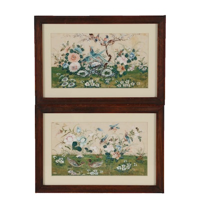 Bird and Floral Motif Gouache Paintings on Vellum