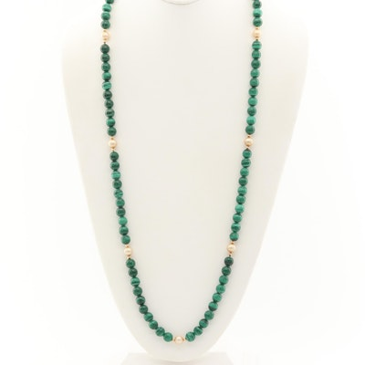 14K Yellow Gold Beaded Malachite and Cultured Pearl Necklace