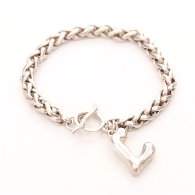 """Sterling Silver Bracelet with """"L"""" Charm"""