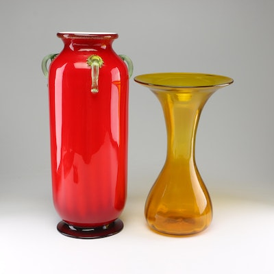 Hand-Blown Art Glass Vases, Mid to Late 20th Century