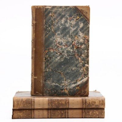 "1836 Signed First Edition ""Wood Leighton"" by Mary Howitt, Three Volumes"