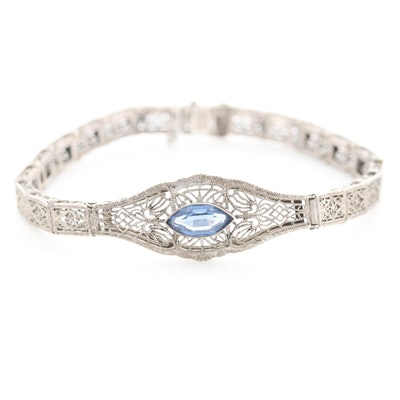 Art Deco Sterling Silver Glass Filigree Bracelet