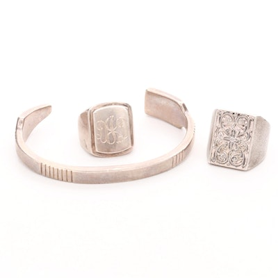 Collection of Sterling Silver Jewelry Featuring an Arrow Cuff Bracelet