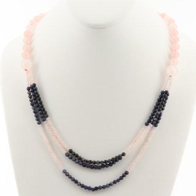 Hand Knotted Rose Quartz and Blue Quartz Beaded Necklace