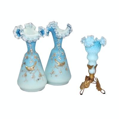Victorian Hand Blown Blue Satin Glass Vases, Circa 1880s