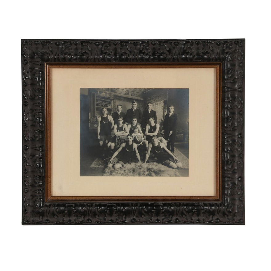 Silver Gelatin Portrait of the Crescent Athletic Club Basketball Team, 1908-09
