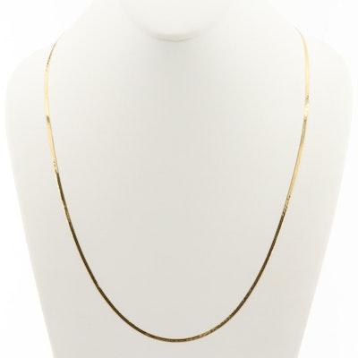 18K Yellow Gold Herringbone Chain Necklace