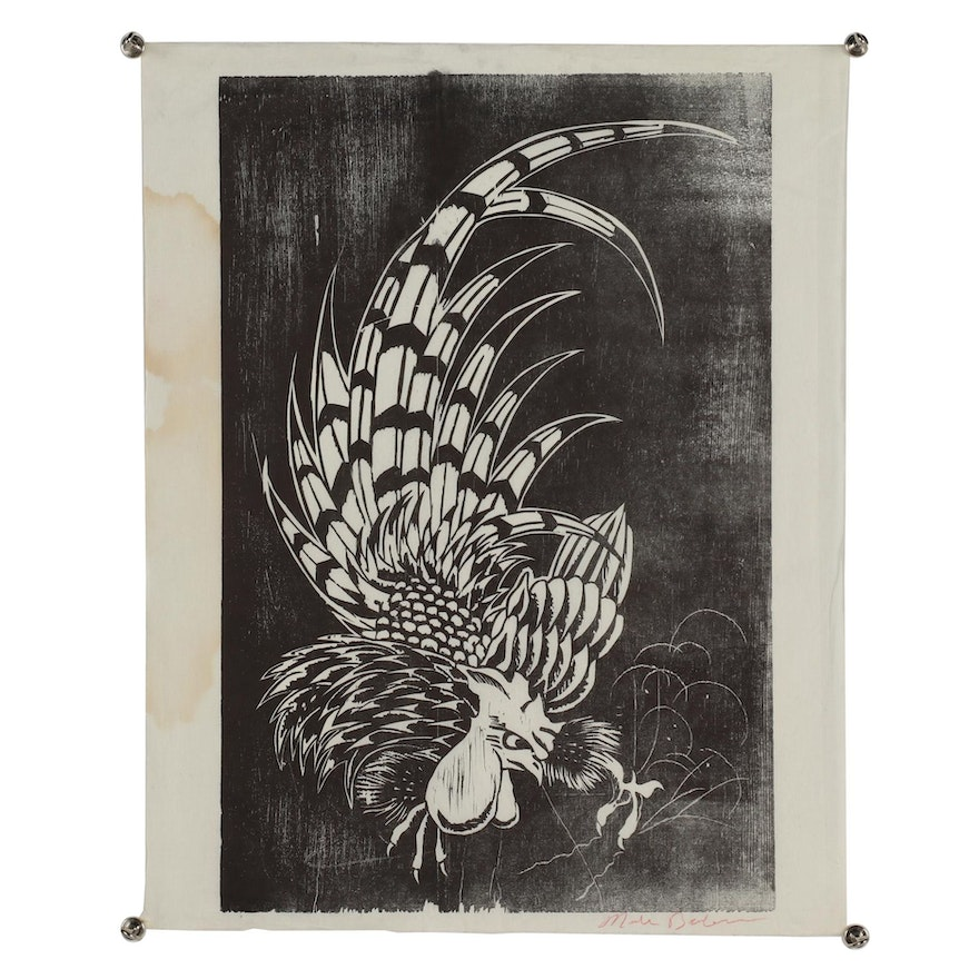 Nick Bubash Woodcut of Rooster