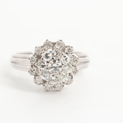 18K White Gold Tiered Diamond Cluster Ring