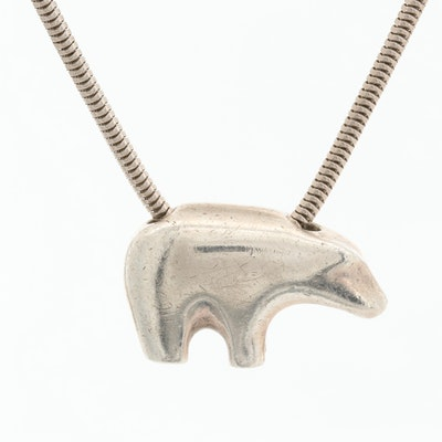 Sterling Silver Bear Pendant Necklace