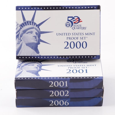 Four US Mint Proof Sets 2000, 2001, 2002, 2006