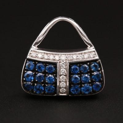 Mirabelle 18K White Gold Sapphire and Diamond Purse Pendant