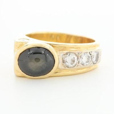18K Yellow Gold Black Star Sapphire and Diamond Ring