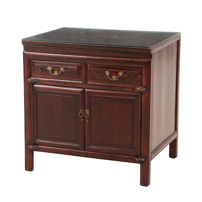Mahogany Stain Glass Top Side Cabinet