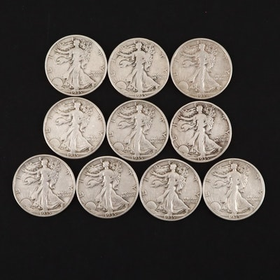 Ten 1935-D Walking Liberty Silver Half Dollars