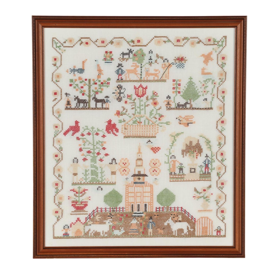Handmade Cross-Stitch Vignette Sampler