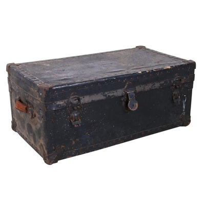 Wood and Metal Steamer Trunk, Early 20th Century