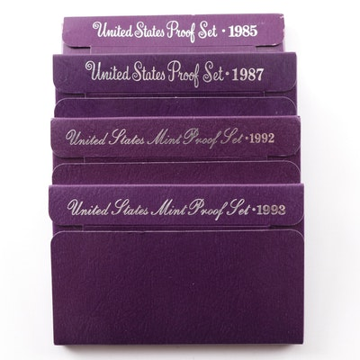 Four United States Mint Proof Sets 1985, 1987, 1992, 1993