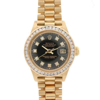 Rolex Datejust 18K Yellow Gold and 1.15 CTW Diamond Wristwatch, Circa 1982