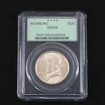 PCGS Graded MS65 1937 Roanoke 350th Anniversary Commemorative Silver Half Dollar