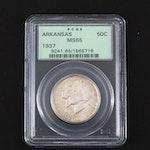 PCGS Graded MS65 1937 Arkansas Commemorative Silver Half Dollar
