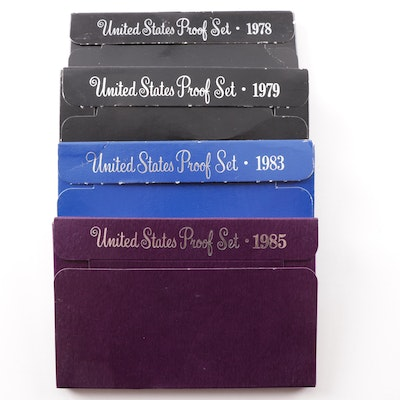 Four United States Mint Proof Sets 1978, 1979, 1983, 1985