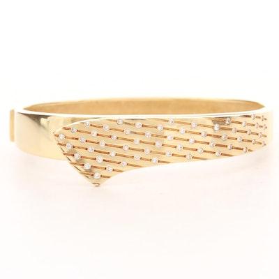 18K Yellow Gold Diamond Hinged Bangle Bracelet