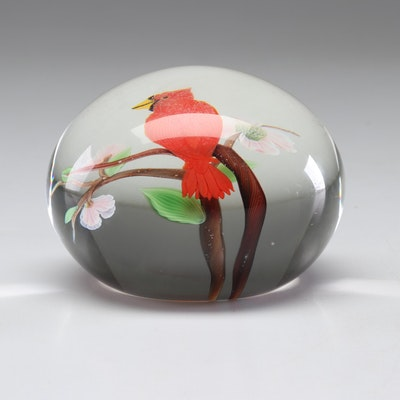 Orient & Flume Limited Edition Cardinal Glass Paperweight