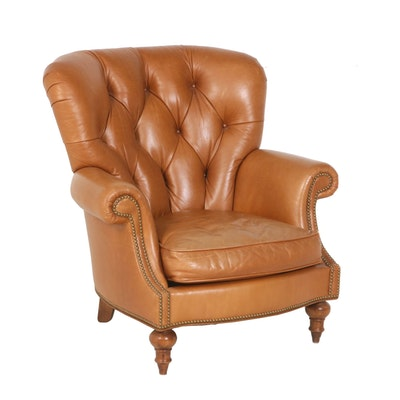 Button-Tufted Tan Leather Armchair by Century Furniture