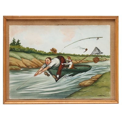 G. Klein Watercolor Illustration of Man and Dog Fishing