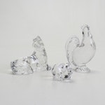 Baccarat Crystal Pig, Rooster and Dog Figurines