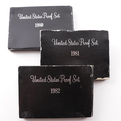 Three United States Mint Proof Sets 1980, 1981, 1982