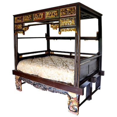 Chinese Parcel-Gilt and Polychrome Carved Hardwood Queen Size Canopy Wedding Bed