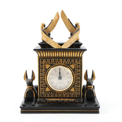 Taranis Temple of Isis and Anubis Egyptian Revival Clock, Contemporary