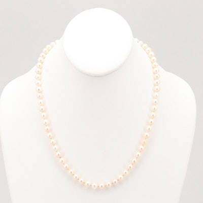 Mikimoto Akoya Cultured Pearl Necklace with 18K Yellow Gold Clasp