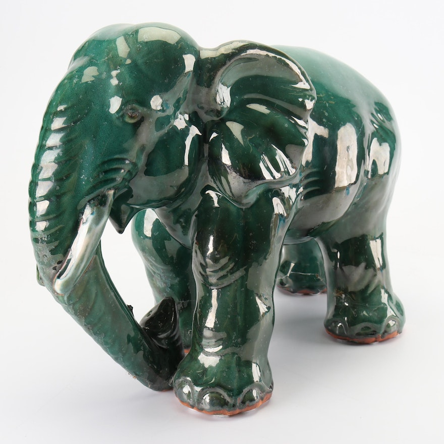 Celadon Green Glazed Terracotta Elephant Statue