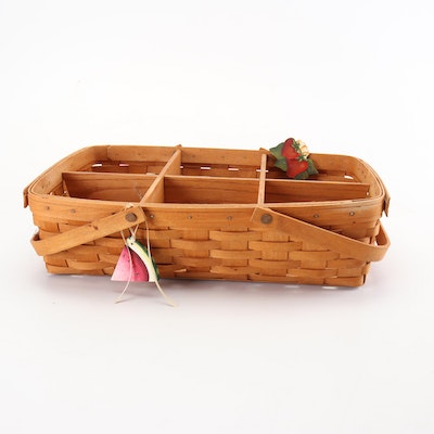 Longaberger Divided Basket with Wood Fruit Ornaments, Late 20th Century