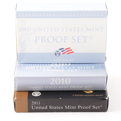 Three United States Mint Proof Sets 2009, 2010, 2011