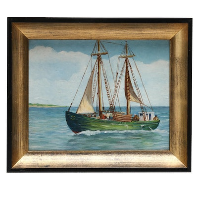 Oil Painting of Sailing Ship on Calm Sea