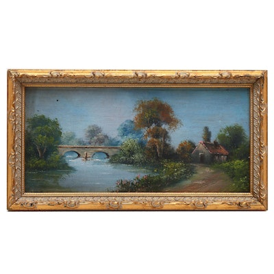 Miniature Oil Painting of Landscape with Cabin
