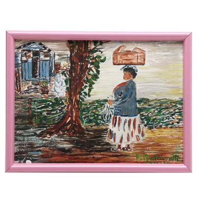 Woman on Path Folk Art Oil Painting