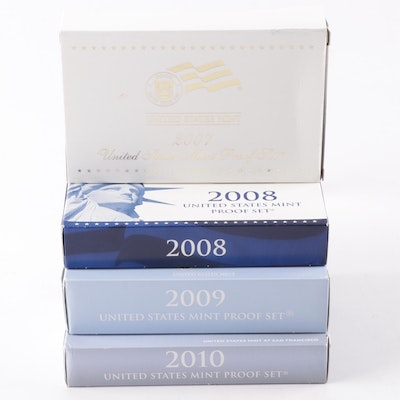 Four United States Mint Proof Sets 2007, 2008, 2009, 2010