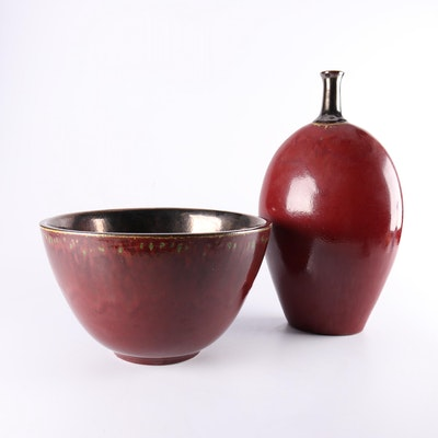 Chinese Red Glazed Earthenware Bowl and Floor Vase, Contemporary