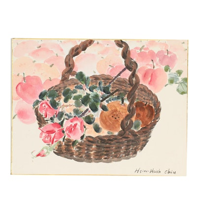 Late 20th Century Watercolor Still Life Painting