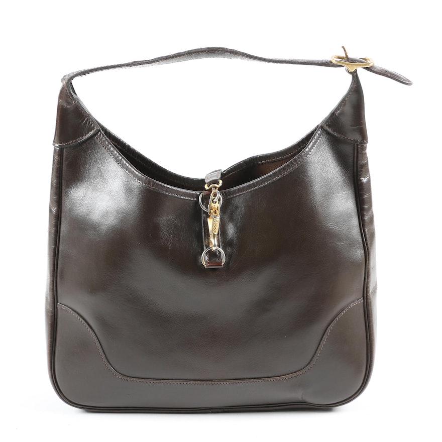 Hermès Paris Trim Bag in Box Calf Brown Leather, 1963 Vintage