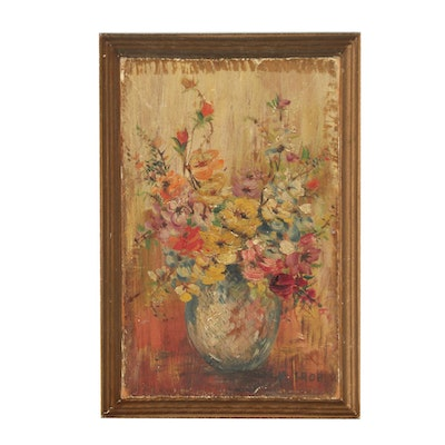A. Broh Oil Painting of Floral Still Life