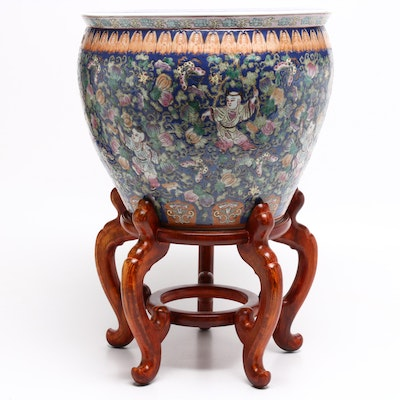 Chinese Hand-Painted Earthenware Fish Bowl Planter with Wooden Stand